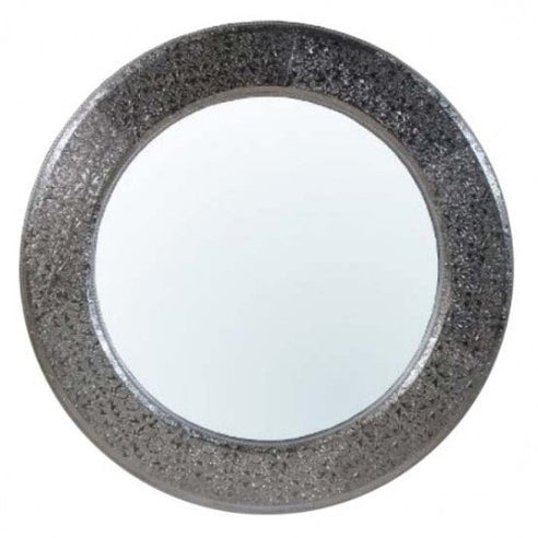 Silver embossed metal circular large mirror