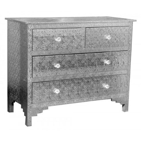 Silver embossed large metal chest 4 drawers