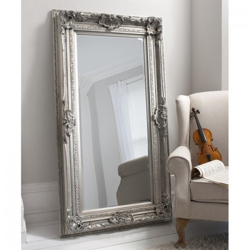 Silver french baroque floor leaner mirror - Valois