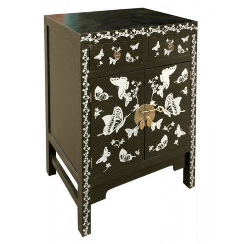 Oriental black and silver cabinet with drawers