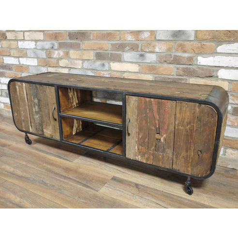 Reclaimed wood wheeled and steel TV media unit - Beach House