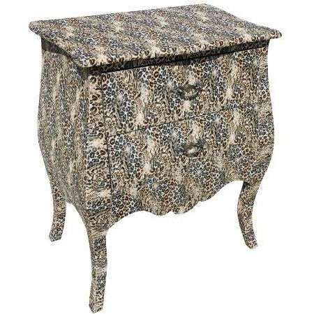 Leopard pattern 'Lounge Lizard' bedside table