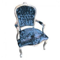 Peacock Blue Crushed Velvet French 'Louis Style' Armchair with Silver Gilt Frame