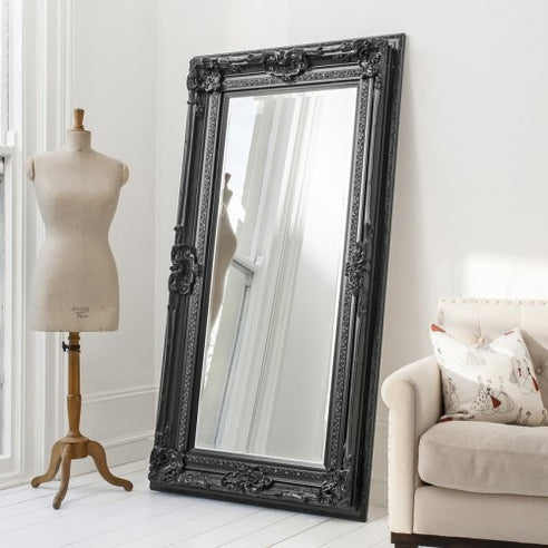 Black french baroque floor leaner mirror - Valois