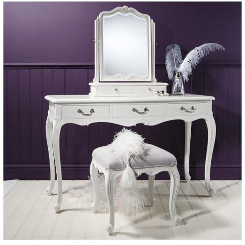 Chic Chalk White French Dressing Table, Mirror, Stool Set