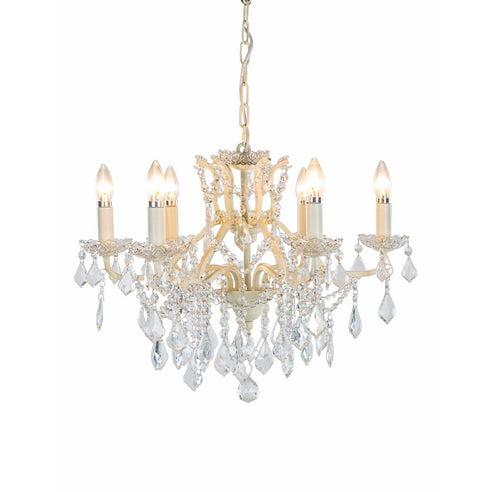 Shabby Chic Laura Antique White Chandelier - 6 Arms (Ceiling Light)