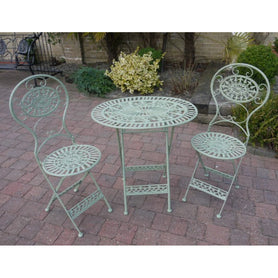 Green Oval Metal Folding Bistro Table and Chair Set