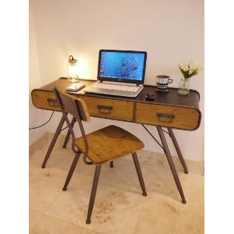 Retro Industrial 50's Style Metal and Wood Laptop Desk with Chair Set