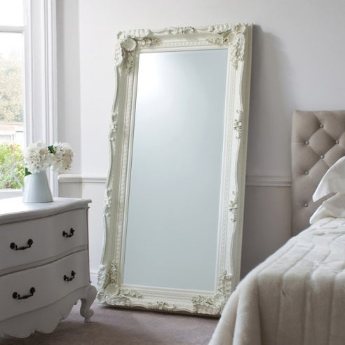 Cream large french baroque floor leaner mirror