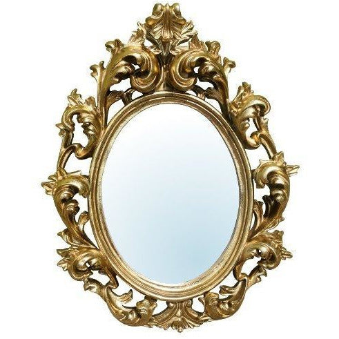 Gold french rococo ornate oval mirror