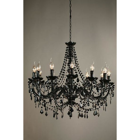 Shabby chic Marie Therese black acrylic chandelier 12 arm
