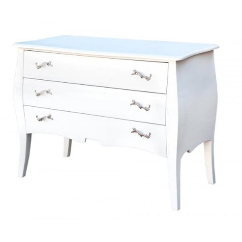 White gloss french large chest of drawers