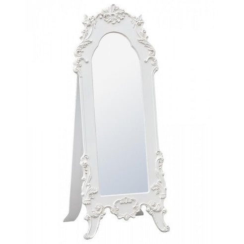 Vintage antique white cheval mirror