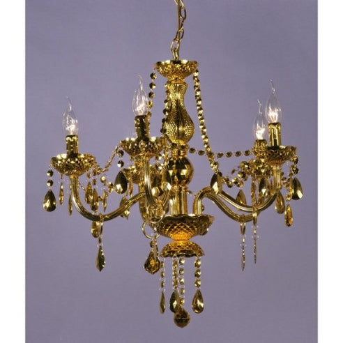 Gold french vintage acrylic chandelier 5 arm