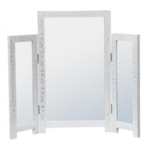 Frosted silver metal dressing table tri-mirror