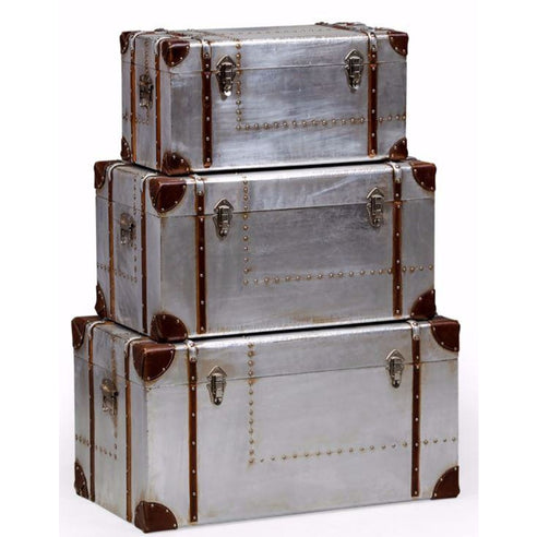 Silver Industrial Style Aluminium Trunk Set (S, M, L)