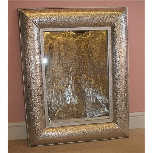 Silver embossed metal rectangular large mirror