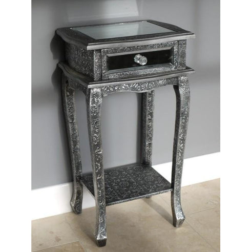 Blackened silver embossed metal mirrored side table