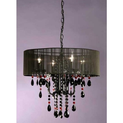 Shabby chic Emma black chandelier with shade 4 arm