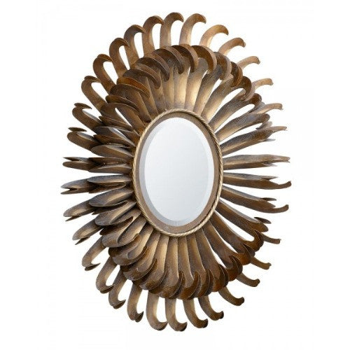 Antique gold metal sunflower mirror - Hook