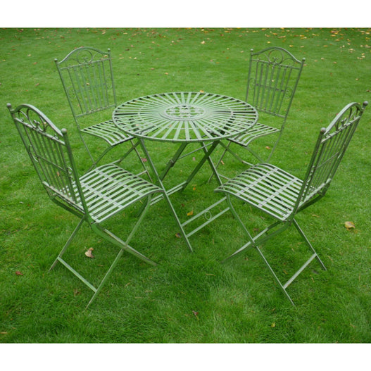 Antique Green Metal Folding Table and 4 Chair Set