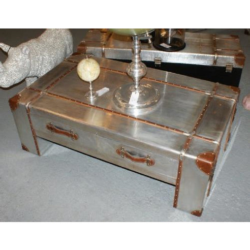Silver industrial aluminium coffee table