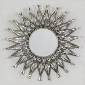 Antique silver metal sun mirror - Spike
