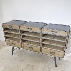 Retro Industrial 50's Style Metal/Wood Sideboard (150 x 38 x 88cm)