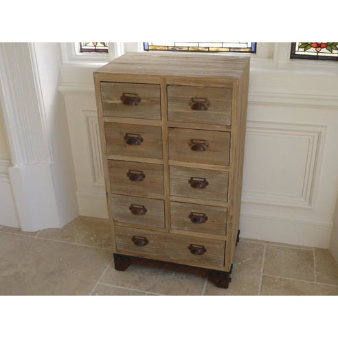 Loft Style Rustic Wood 9 Drawer Chest - Brighton (47 x 32 x 81cm)