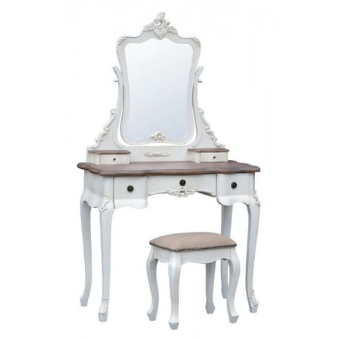 Orleans antique white french dressing table miirror and stool