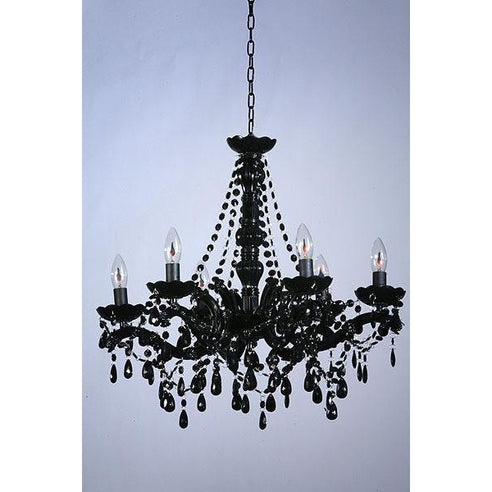 Shabby chic Marie Therese black acrylic chandelier 6 arm