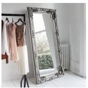 Silver large french baroque floor leaner mirror