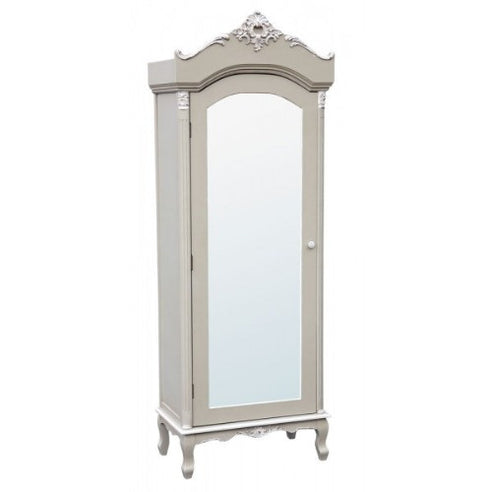 Vintage grey french shallow armoire