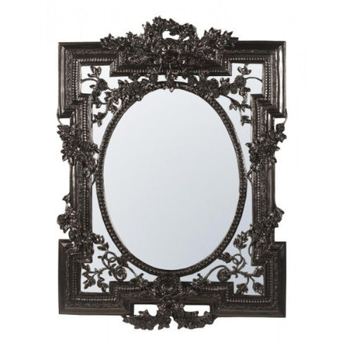 Large french rococo black shabby chic mirror