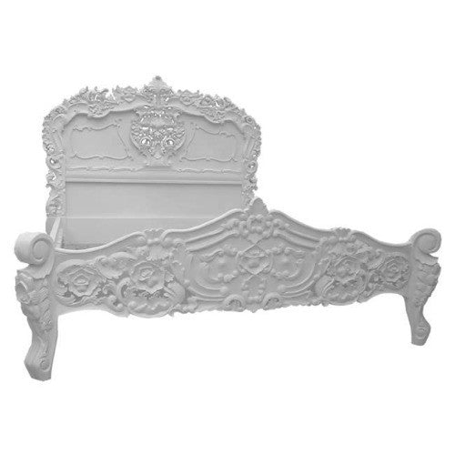 Antique white double size rococo french bed