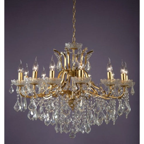 Shabby chic laura large gold 12 arm chandelier