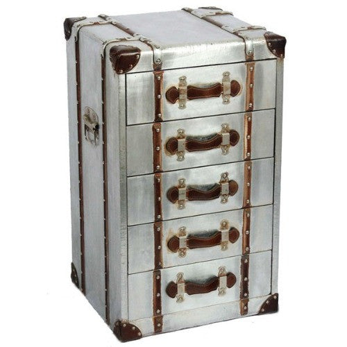 Silver industrial aluminium tallboy chest of drawers