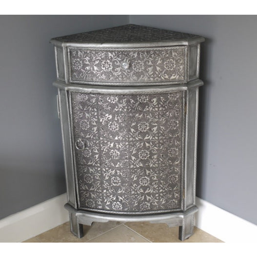 Blackened Silver Embossed Corner Cupboard (50 x 33 x 76cm) - SECONDS CLEARANCE