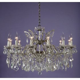 Shabby Chic Laura Large Silver Chandelier - 12 Arms (Ceiling Light)