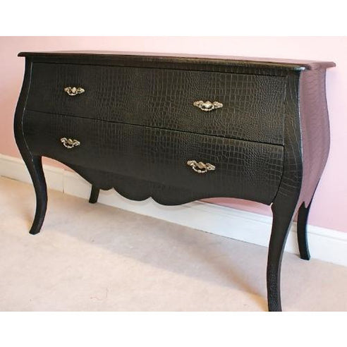 Mock croc embossed black large chest of drawers