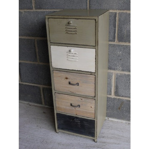 Loft style industrial metal 5 drawer chest