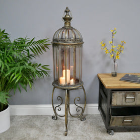 Antique Gold Lantern Candle Stand (34 x 34 x 115cm )