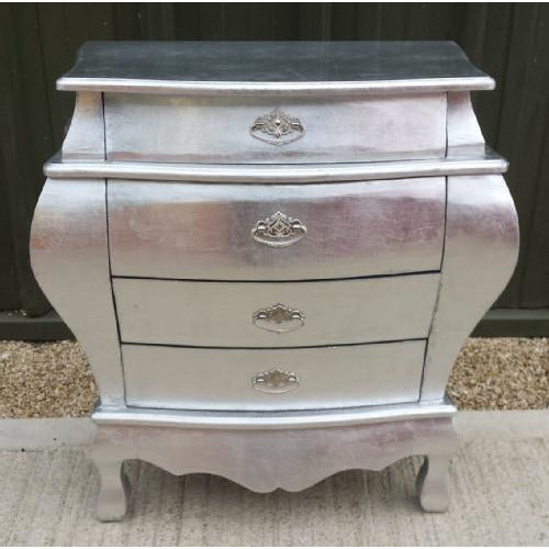 Silver lacquered french bedside chest of drawers