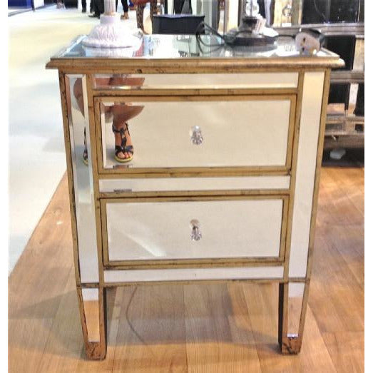 Venetian Lido 2 Drawer Mirrored Coffee Table: Mirrored Venetian Glass Silver Gilded 2 Drawer Bedside