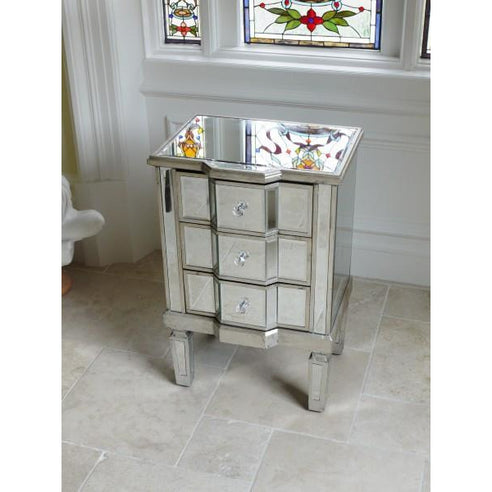 Venetian Glass Vintage Glam Mirrored Silver 3 Drawer Side Table (48 x 37 x 74cm)
