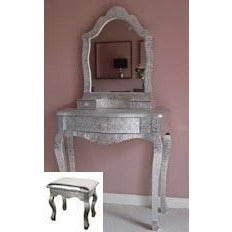Silver embossed metal dressing table mirror stool set