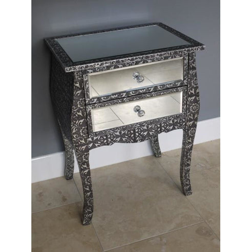 Blackened Silver Embossed Mirrored Bedside Table With 2