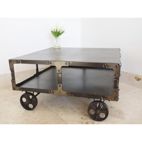Hoxton Industrial Metal Coffee Table with Wheels (69 x 69 x 35cm)