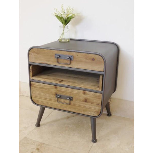 Retro Industrial 50's Style Metal/Wood Small Side Table / Chest (48 x 38 x 55cm)