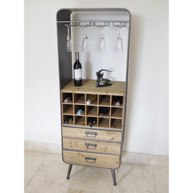 Retro Industrial 50's Style Metal/Wood Drinks Display Cabinet (56 x 38 x 159cm)